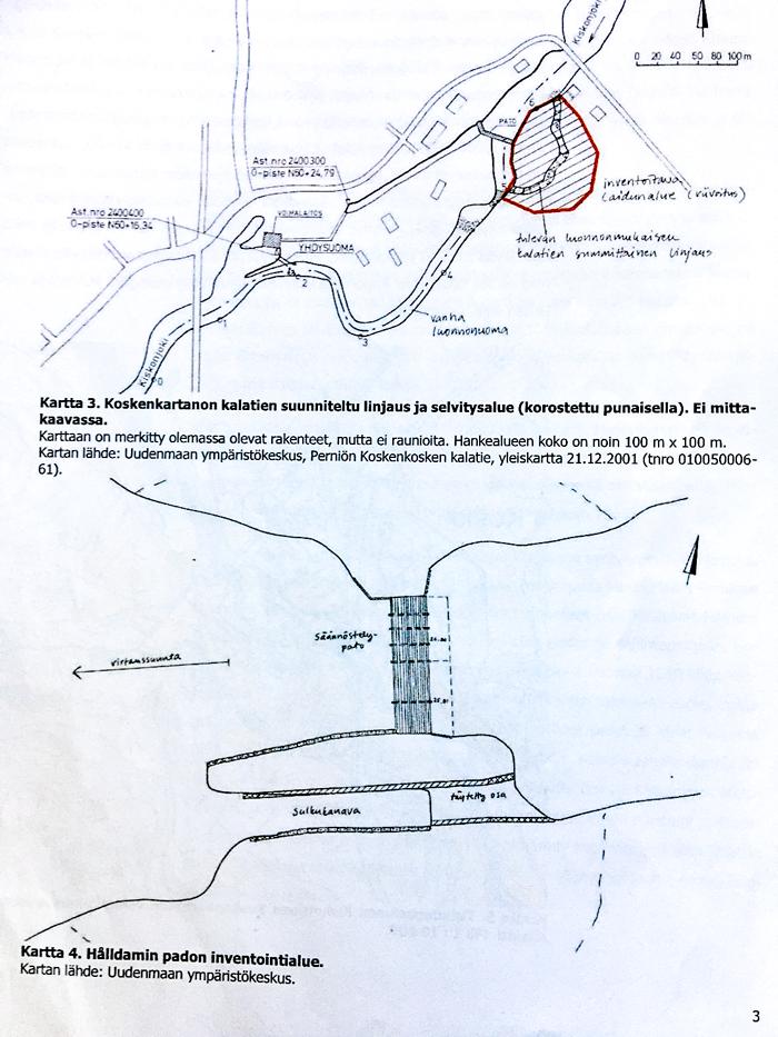 Koskenkoskeen suunniteltu kalatie sekä Hålldamin pato